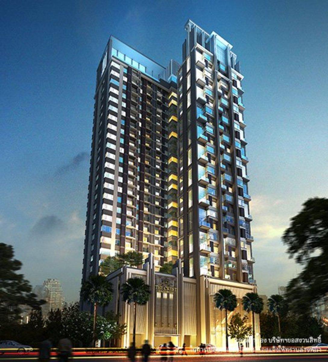 For SaleCondoSukhumvit, Asoke, Thonglor : Urgent sale The Crest Sukhumvit 34 1 bedroom 1 bathroom 35.78 sq m, high floor, fully furnished room, only 17x, xxx / sq m, call 065-979-5246 postter