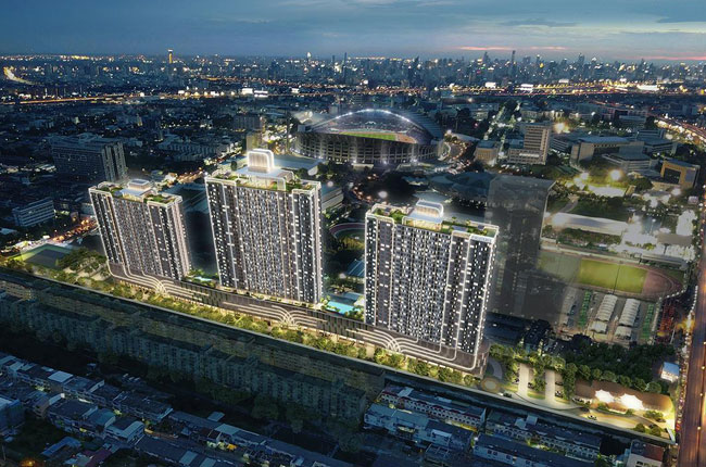 Sale DownCondoRamkhamhaeng, Hua Mak : Down payment at the price of Building C, 17th floor, size 30 sqm. Position 21, facing the stadium