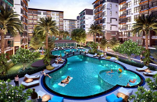 For RentCondoChengwatana, Muangthong : Condo for rent, Summer Garden Chaengwattana 19 (2 bedrooms, 2 bathrooms, pool view) opposite Central Chaengwattana
