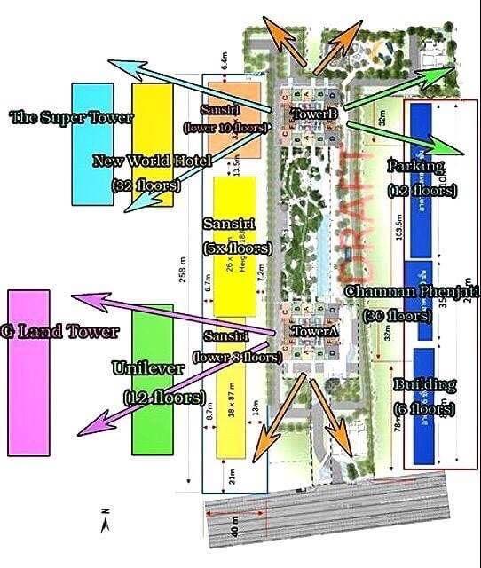 ขายคอนโดพระราม 9 เพชรบุรีตัดใหม่ : Type B1 ครัวปิด 1 ห้องนอน พ้น Condominium ของ Sansiri เห็น Super Tower >> ขายเท่าทุน