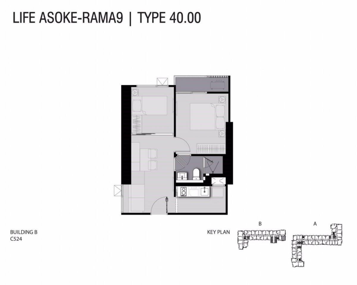 For SaleCondoRama9, RCA, Petchaburi : ขาย ไลฟ์อโศก-พระราม9 Life Asoke Rama 9 ::: 1 bed - 40 sq.m คุ้มที่สุด::: วิวทิศใต้โล่ง เห็นสวนโครงการ