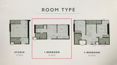 For SaleCondoRamkhamhaeng, Hua Mak : Sale Down Payment, Building B, The Tree Hua Mak, 1 bedroom, 8 meters in width, 26.05 sqm., 14th floor, Building B, 1 bedroom, corner room Plus only over 40,000