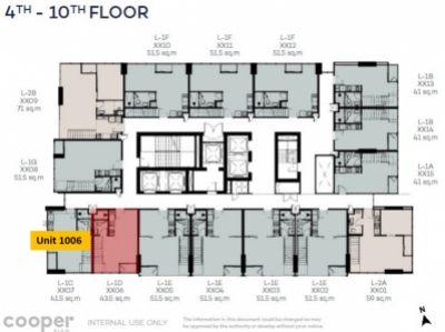 ขาย Cooper Siam: ห้อง Combo Loft ขนาด 43.5 sq.m ชั้น. 10th Floor