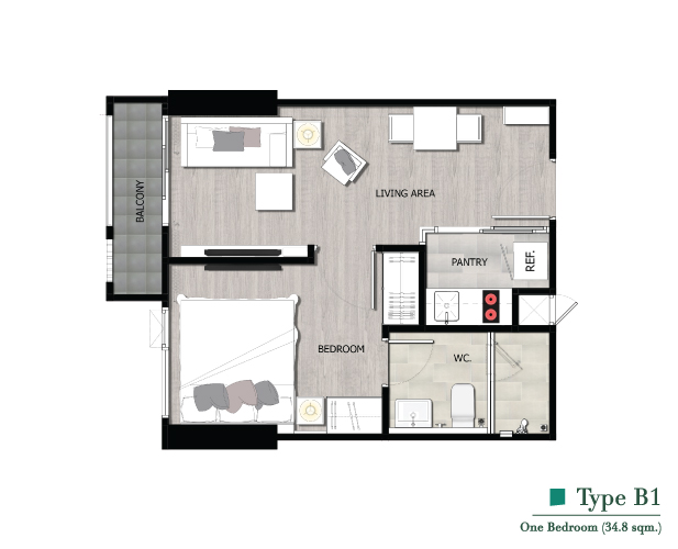 *** FOR SELL 1 BED ROOM THE NICHE PRIDE PETBURI-THONGLOR FL21 36SQM MODERN MINIMAL STYLE ***