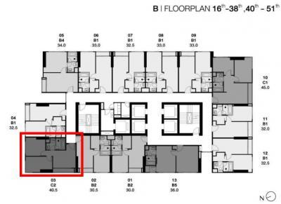 ขายคอนโดสุขุมวิท อโศก ทองหล่อ : Park ทองหล่อ B3303 2-bed ห้องมุม ขนาดเล็กที่สุดของโครงการ 40.5 ตร.ม. ชั้นสูง วิวโล่ง ราคารอบ VIP