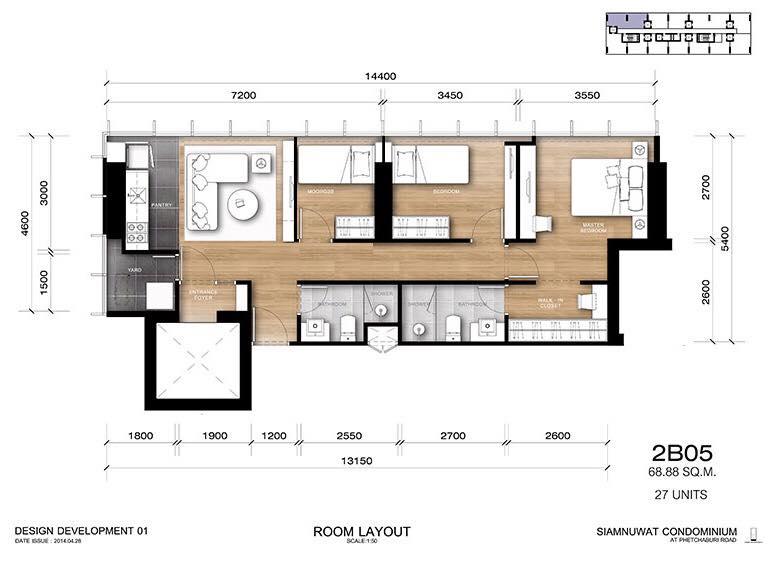 ขายคอนโดราชเทวี พญาไท : ขาย2 นอน 2 น้ำ 70 ตรม หน้ากว้าง 14.5 เมตร ทำ 3 นอนได้ ห้องใหม่เดิมๆจากโครงการ