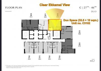 Sale DownCondoSukhumvit, Asoke, Thonglor : (Owner) Sold at par !!! Park Origin Thonglor Duo Space 2 bedroom, wide face, room C3102, Building C, Floor 31, best floor plan, beautiful view, not blocked