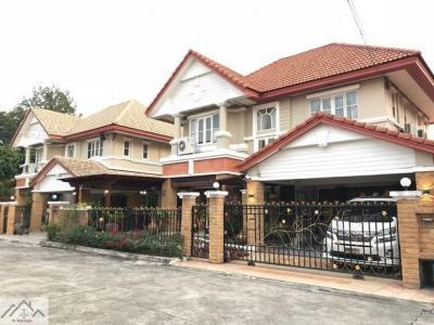 For SaleHouseLadkrabang, Suwannaphum Airport : ขายบ้านเดี่ยว กรองทองพาวิลเลี่ยน 2 ชั้น 2 หลังติดกัน เนื้อที่ 193 ตารางวา ใกล้สวนหลวง ร.9