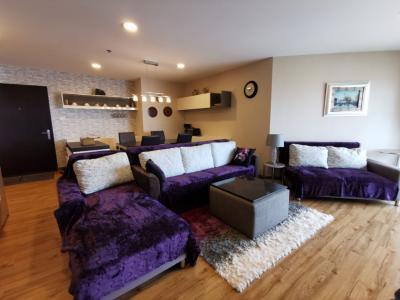 For RentCondoRama9, RCA, Petchaburi : Condo for rent Belle Grand Rama9 near Mrt Rama 9 - Type 3 bedrooms, 2 bathrooms, 1 living room, 1 kitchen - Size 101.5 Sq.m, 17th floor, rent 50,000 baht
