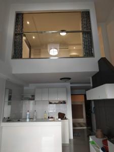 For RentCondoChengwatana, Muangthong : Condo for rent, Champs Elysees, Chaengwattana, 2-storey Penthouse room, 6,500 baht per month, wide room, 48 sq m. Chaengwattana-Pakkred