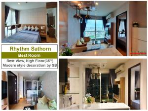 เช่าคอนโดสาทร นราธิวาส : Rhythm Sathorn ชั้น35 ห้องแต่งใหม่ สวยมาก Modern Luxury style by SB designer  วิวสวยขั้นเทพ วิวทิศตะวันออกเฉียงใต้ ไม่ร้อน ผนังห้องไม่ติดห้องใดๆ ไม่มีเสียงรบกวน