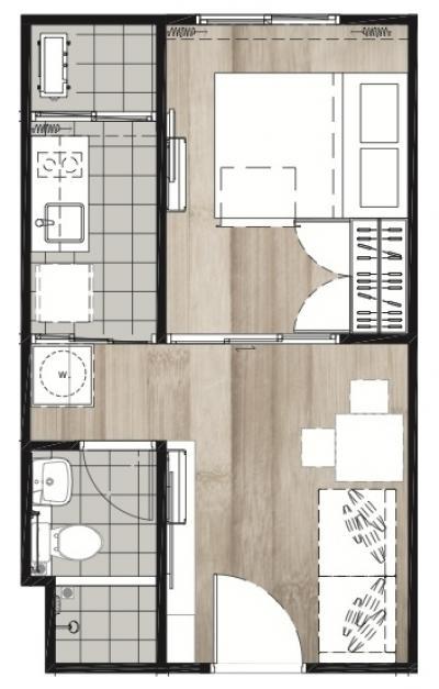 **ขาย** Nottinghill Sukhumvit105 1ห้องนอน TypeA ตึกA ชั้น3 วิวสวน