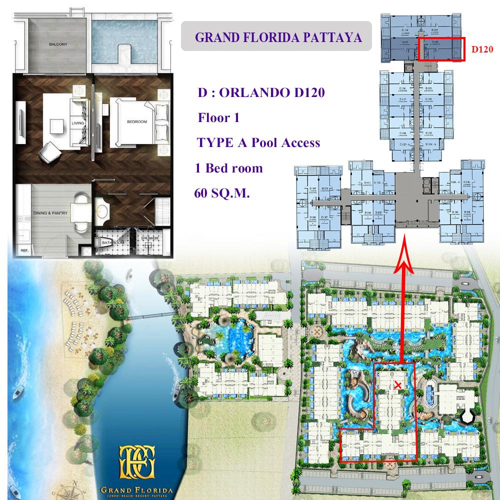 ขายดาวน์คอนโดพัทยา ชลบุรี : ขายดาวน์แกรนด์ฟลอริด้า พัทยา ชั้น1 มีหลายตำแหน่ง เจ้าของขายเอง ห้อง Pool Access ติดสระ zone D