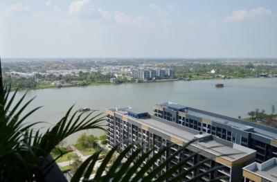 เช่าคอนโดรัตนาธิเบศร์ สนามบินน้ำ : politan rive ห้องมุม ขนาด 30 ตร.ม วิวสวนและแม่น้ำ ชั้น 19 เฟอร์ครบ พร้อมอยู่