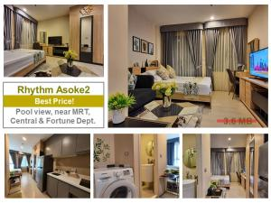 For SaleCondoRama9, RCA, Petchaburi : Selling at a loss! Rhythm Asoke2, sample room, pool view, calm, not crowded, small number of rooms The condo is highly private.