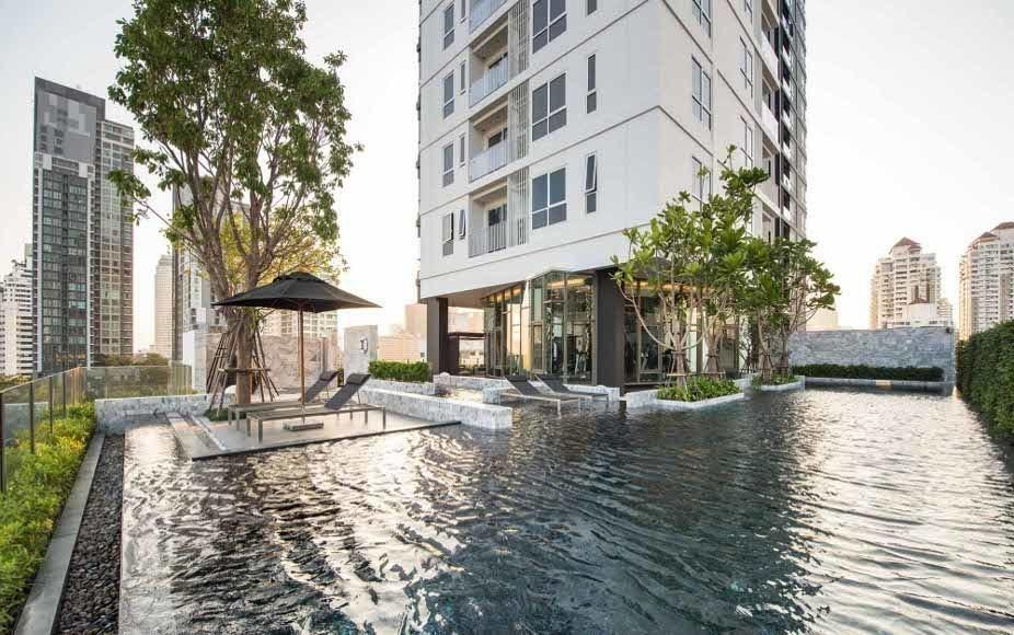 ขายคอนโดสุขุมวิท อโศก ทองหล่อ : HQ by Sansiri: Yield 6-7 % Special 1B Super high floor size 44, Beautiful view, Fully furnished, Nice layout, Sell 8.5 MB (only 19x,xxx/sq. m.)