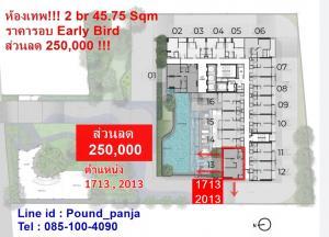 ขายดาวน์คอนโดพระราม 9 เพชรบุรีตัดใหม่ : The base เพชรบุรี 1713 / 2013 ส่วนลด 250,000 2 br. 45.75 Sqm วิวสระ ราคารอบ Early bird