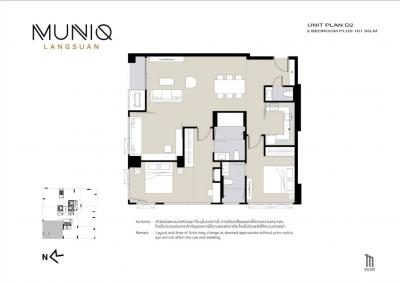 For SaleCondoWitthayu,Ploenchit  ,Langsuan : For sale MUNIQ LANGSUAN Bangkok Close to Lumpini Park :: 2 bed 2 bath :: Corner Unit