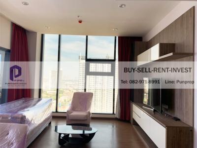 For RentCondoBang Sue, Wong Sawang : Condo For Rent @ Chewathai Residence Bang Pho 94 sqm. 3 br. High Fl. River View 45,000 Baht / Month