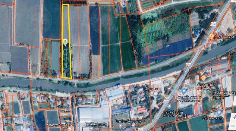 For SaleLandNakhon Pathom, Phutthamonthon, Salaya : ขายที่ดินสวยด้านหน้าติดถนนลาดยาง เดินทางสะดวก 8-2-16 ไร่ ติดคลอง อ.บางเลน จ.นครปฐม
