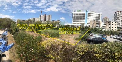 ขายที่ดินพัฒนาการ ศรีนครินทร์ : ขาย ที่ดินเปล่า 522 ตารางวา ติดถนนพัฒนาการ ฝั่งตรงข้าม โรงพยาบาลวิภาราม พัฒนาการ  ใกล้ แอร์พอร์ตลิงค์ หัวหมาก ใกล้ Maxvalu Supermarket พัฒนาการ