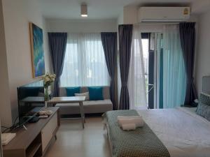 For RentCondoRatchadapisek, Huaikwang, Suttisan : A1524 Chapter One Eco Ratchada-Huai Khwang Studio for rent, 9,000 baht, beautiful room * MRT Huai Khwang
