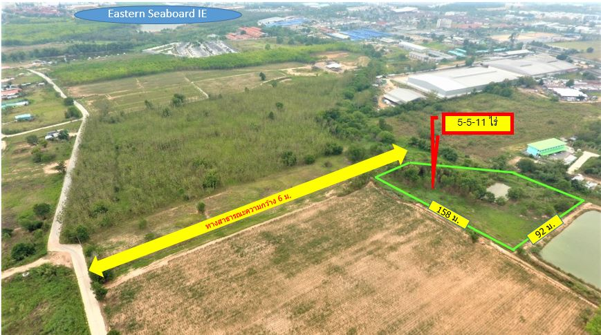 For SaleLandChonburi, Pattaya, Bangsa : Area 128, 5 rai 5 ngan 11 sq.w., Bo Win, entrance to the Eastern Seaboard Industrial Estate 18.83 million