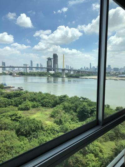 For RentCondoRathburana, Suksawat : Chapter One Modern Dutch condo for rent on the Chao Phraya River, 60 sq.m., 12th floor, Building C, 2 bedrooms, 2 bathrooms, beautiful river view