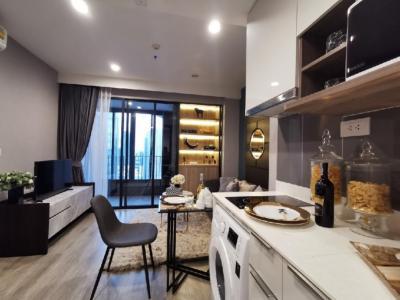 For RentCondoRama9, RCA, Petchaburi : Cheap‼ Condo Ideo Mobi Asok for rent, near BTS Asoke / MRT Petchburi. 1 bedroom, 1 bathroom, 1 kitchen, area 35 sq.m., 21st floor. Beautiful room, ready to move in.