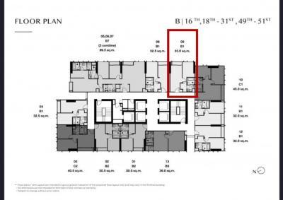 Sale DownCondoSukhumvit, Asoke, Thonglor : Sale down payment, Condo Park Origin Thonglor, 1 bedroom, 33 sqm, 19th floor, position 09.