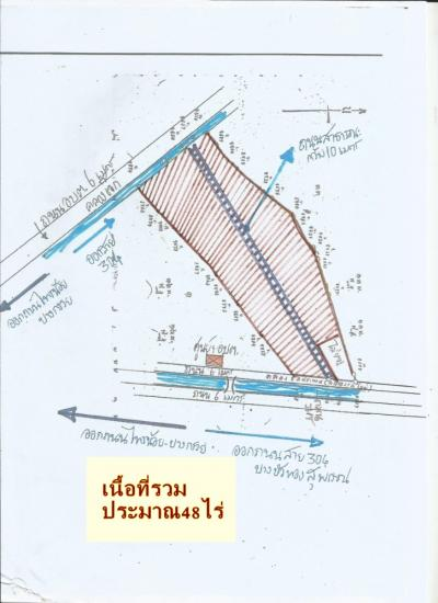 For SaleLandBangkruai, Ratchapruek : Selling a beautiful plot of approximately 48 rai Sai Noi Road - Bang Kruai 9 km from Kanchana Road Intersection