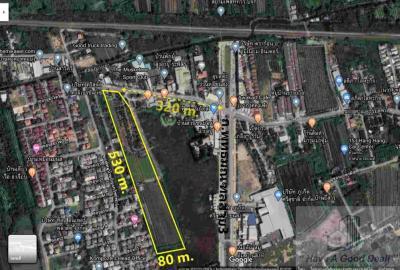 For SaleLandNakhon Pathom, Phutthamonthon, Salaya : Vacant land 26-1-50 rai, next to Sala Thammasop Road, Phutthamonthon 3