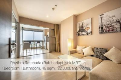 For RentCondoRatchadapisek, Huaikwang, Suttisan : ++ Urgent rent ++ Good price, Rhythm Ratchada ** 1 bedroom 45.52 sq.m. Ready to view !!
