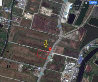 For SaleLandSamrong, Samut Prakan : Land for sale 5 rai 87 sq. Wah, corner plot, Soi Nawaminthrachinuthit 9 Bangna-Trad Road, near ABAC University