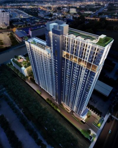 Sale DownCondoRamkhamhaeng,Min Buri, Romklao : Sell down payment, preemption condo The Origin Ram 209, Interchange, cost price, price not over 100,000, very good room (no elevator, fire escape stairway and garbage room), electric train view, 2 intersection lines (sale by owner)