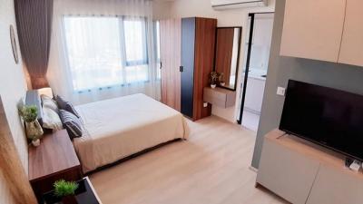 For RentCondoRama9, RCA, Petchaburi : AE0146 Life Asoke for rent, studio room, 25 sqm, 15th floor, north side, Rama 9 side view Fully furnished