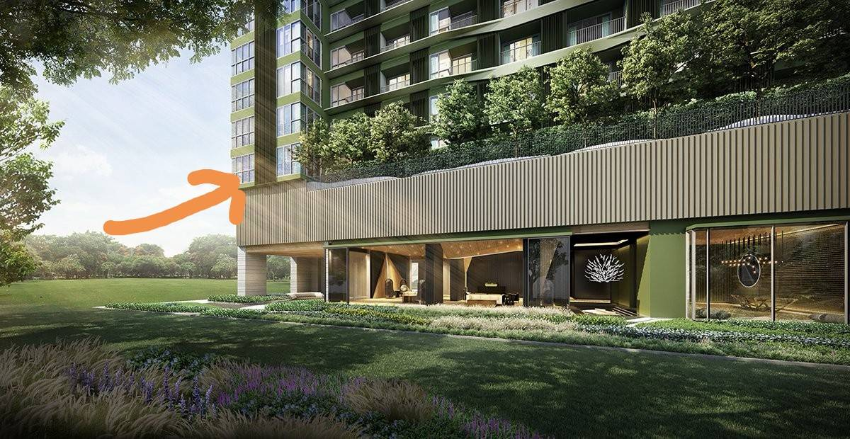Sale DownCondoLadprao, Central Ladprao : Down payment The Line Phahonyothin Park, 2nd floor, size 64.75 sq.m., North garden view