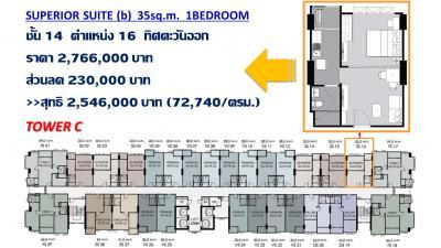 ขายดาวน์คอนโดรามคำแหง หัวหมาก : ขายดาวน์ ห้องSuperior Suite 1Bedroom 35ตรม ทิศตะวันออก ตำแหน่งหายาก ราถูกสุดๆ!!