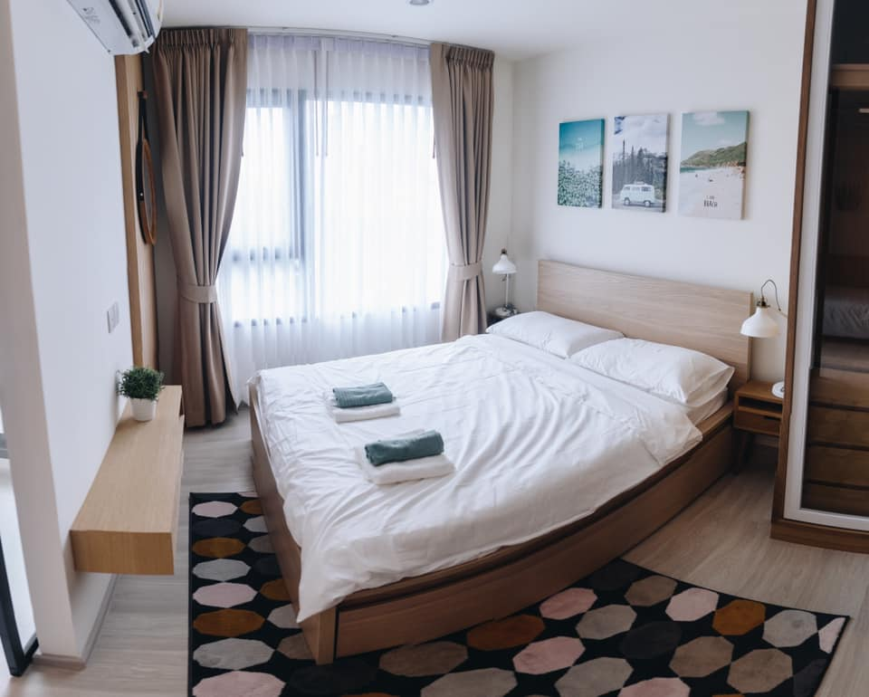 For RentCondoRama9, RCA, Petchaburi : OK-L047 For rent 1 + 1 bed Condo Life Asoke, new room, beautiful decoration Next to Phetchaburi MRT
