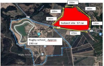 ขายที่ดินพัทยา บางแสน ชลบุรี : ขายที่ดินเปล่า 57 ไร่ ตำบล เขาไม้แก้ว ตรงข้าม โรงเรียน Rugby School Thailand