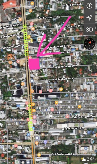 ขายที่ดินอ่อนนุช อุดมสุข : ขายที่ดินติดถนนใหญ่สุขุมวิท89/1 จำนวน 693 ตร.วา.