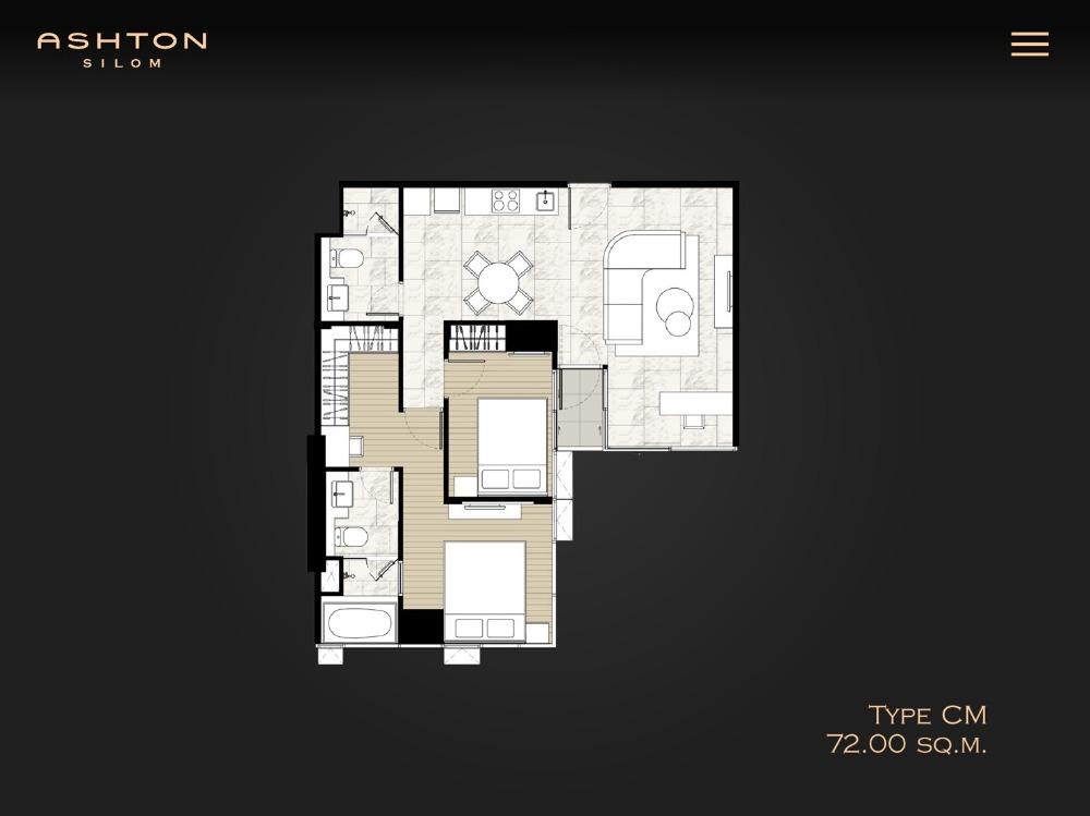 ขายคอนโดสีลม บางรัก : 2ห้องนอนทำเลสีลม >> Ashton Silom 71.5 sqm. 14.9ลบ เท่านั้น