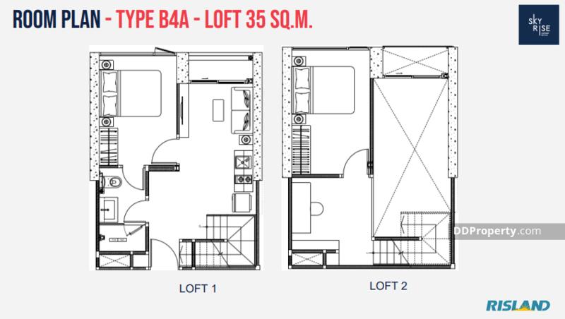 ขายดาวน์คอนโดอ่อนนุช อุดมสุข : Skyrise 64 RARE Items ขายดาวน์ห้อง Loft 2-Bed 34.64 sqm  แต่ได้สเปค Duplex ชั้นบนสูง 2.6 ม.