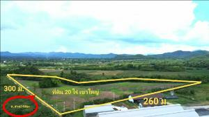 For SaleLandKorat KhaoYai Pak Chong : Land for sale in Khao Yai, hill view 20 rai 350 m. From Thanarat Road km. 6