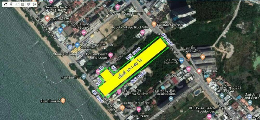 For SaleLandChonburi, Pattaya, Bangsa : Beachfront land for sale in Jomtien Soi 9 Pattaya, land area 10-1-40 rai