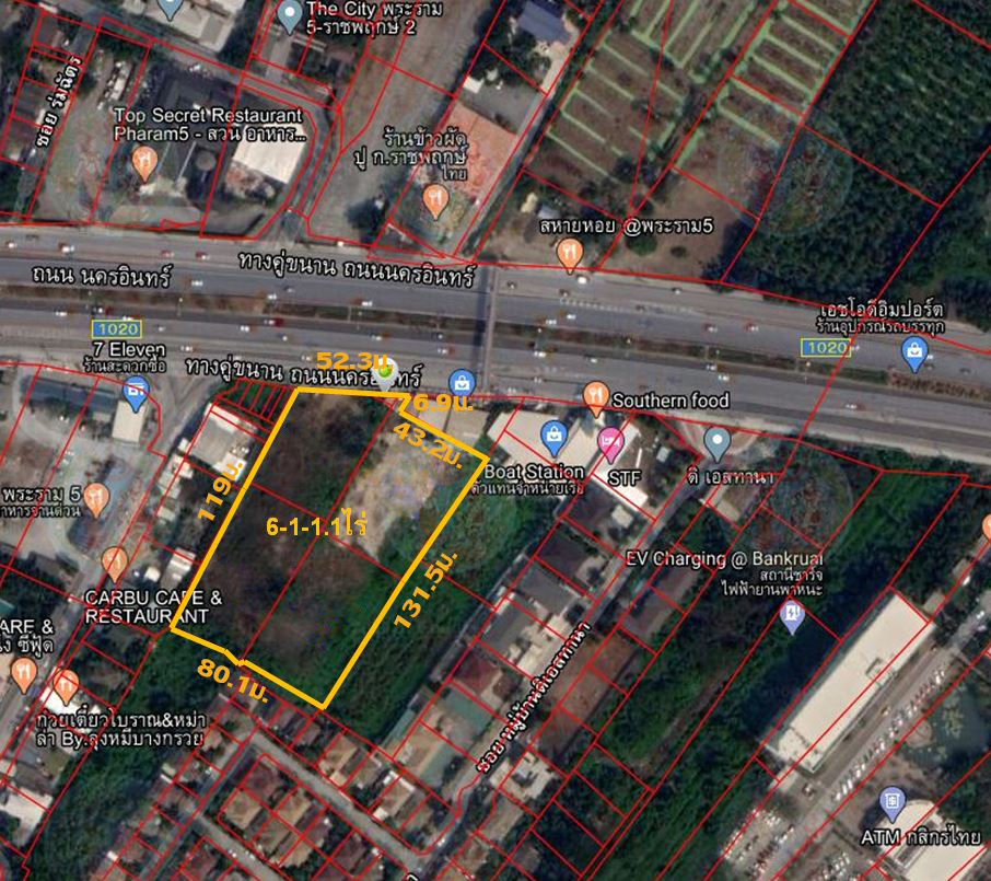 For SaleLandBangkruai, Ratchapruek : Land for sale on Nakhon In Road, Bang Kruai, Thong location