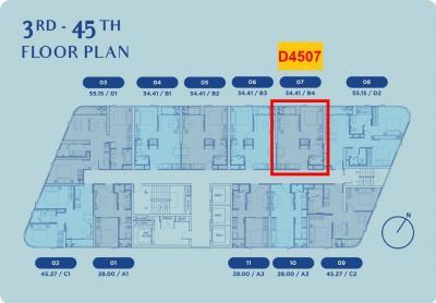 ขายดาวน์คอนโดอ่อนนุช อุดมสุข : Skyrise 64 ห้อง 1-bed ชั้นสูงมาก วิวแม่น้ำ+โค้งน้ำบางกระเจ้า เพียง 112,xxx บาท/ตร.ม.
