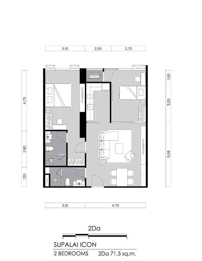 Sale DownCondoSathorn, Narathiwat : Sale down payment 2 bedrooms, 2 bathrooms, 71.5 sq m, 32nd floor, price 16.35 million
