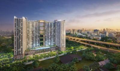 For RentShowroomRama9, RCA, Petchaburi : Shop for rent, area 41 sqm., Height 6 m, in Supalai Veranda Rama 9, suitable for office shops