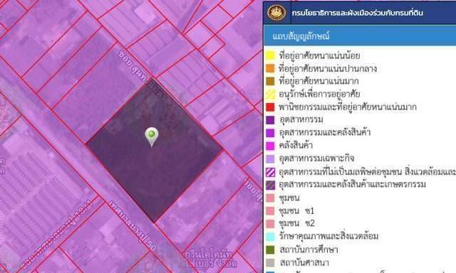 For SaleLandSamrong, Samut Prakan : Land for sale 5 rai, Samut Prakan, purple plan. Soi Thetsaban Bang Pu 50 Close to BTS Kheha
